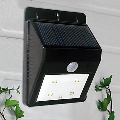4 LED-uri cu lumină albă Solar Powered PIR senzor de lumină în aer liber (CIS-57164)