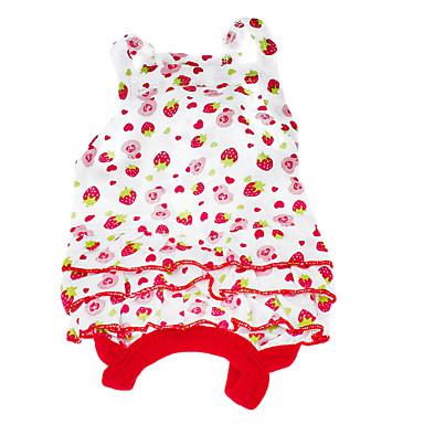 Câine Rochii Îmbrăcăminte Câini Rosu Costume Bumbac Fruct XS S M L
