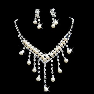 Gyönyörű esküvői strassz gyöngy fülbevaló és állítható nyaklánc Ékszer szett  802148 2019 – €11.99 ed35687c0d