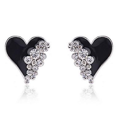 نسائي أقراط الزر أقراط قطرة قلب سيدات الأقراط مجوهرات أبيض / أسود من أجل 1PC