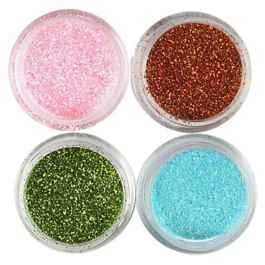 4 Culori laser Glitter acril Pulbere stabilite pentru 3D nr.1 Nail Art