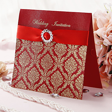 "cheap Wedding Reception-Top Fold Wedding Invitations Invitation Cards Artistic Style / Classic Style / Floral Style Art Paper 6 1/4""×6 1/4"" (16*16cm) Rhinestone / Ribbons"