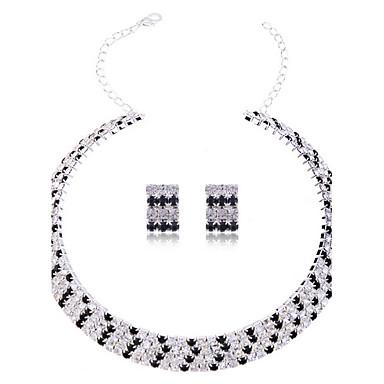 ieftine Seturi Bijuterii De Cristal-Pentru femei Cristal Seturi de bijuterii Cercei Stud Lănțișor femei Elegant de Mireasă Italiană Cristal Ștras cercei Bijuterii Argintiu Pentru Nuntă Petrecere Zi de Naștere Logodnă Cadou Zilnic