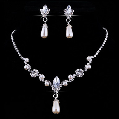 Perle Seturi de bijuterii Coliere cu Pandativ Picătură Floare femei Personalizat European Perle Cristal Ștras cercei Bijuterii Pentru Nuntă Petrecere Mascaradă Petrecere Logodnă Bal Promisiune