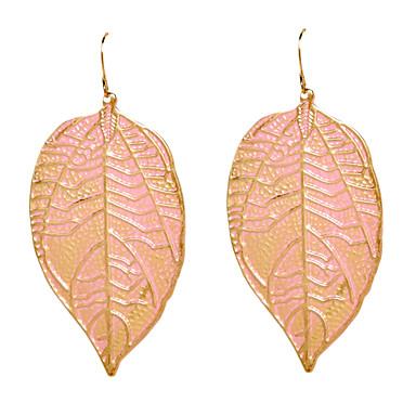 رخيصةأون أقراط-نسائي أقراط قطرة Leaf Shape الأقراط مجوهرات أخضر / زهري من أجل مناسب للبس اليومي