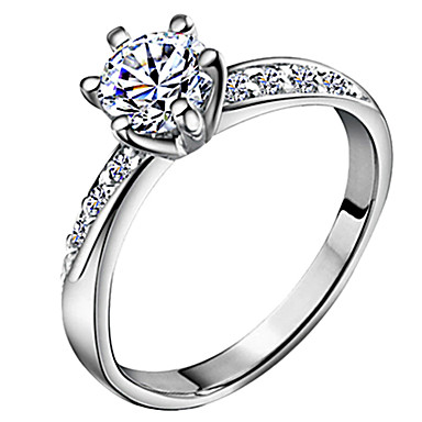 Pentru femei Band Ring Belle Ring Diamant Zirconiu Cubic diamant mic Argintiu Zirconiu Argilă Montaj de Șase femei Clasic de Mireasă Nuntă Aniversare Bijuterii Solitaire Rundă HALO Iubire