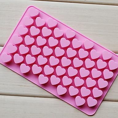 hesapli Fırın Araçları ve Gereçleri-55 delik yapışmaz silikon çikolatalı kek aşk kalp şeklinde kalıp bakeware pişirme jöle buz kalp kalıp