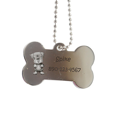 Personalizate cadouri Bone Forma Silver Pet Id Name Tag cu lanț pentru câini