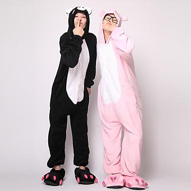 Adulți Pijama Kigurumi Purcel / Porc Animal Pijama Întreagă Flanel Lână Negru / Roz Cosplay Pentru Bărbați și femei Sleepwear Pentru Animale Desen animat Festival / Sărbătoare Costume