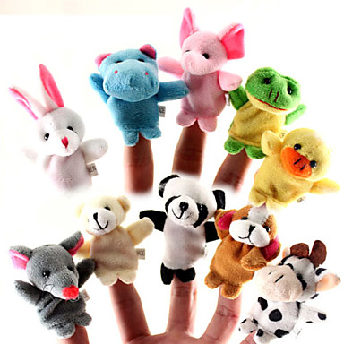 cheap Special Deals-For Bedtime Stories Animal Finger Puppets Puppets Cute Lovely Cartoon Textile Silicone Plush Girls' Toy Gift 10/12 pcs