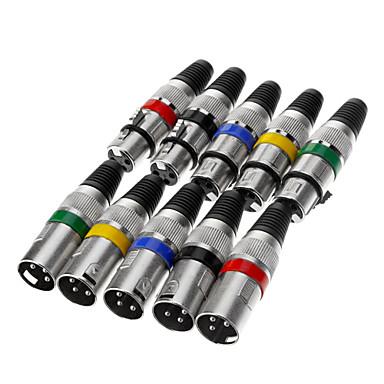 olcso Audió és videó-XLR + 3-Pin Male Jack Set adapterek csatlakozók Silver (5 pár)