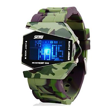 SKMEI Bărbați Ceas Militar Ceas de Mână Ceas digital Piloane de Menținut Carnea Silicon Verde 30 m Rezistent la Apă Alarmă Calendar Piloane de Menținut Carnea Charm - Negru Doi ani Durată de Via