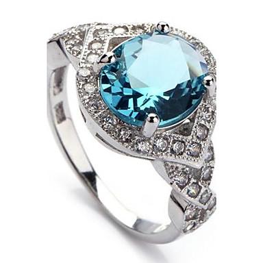 Pentru femei Inel de declarație Albastru Argilă femei Modă Bling bling Petrecere Zilnic Bijuterii Vărsătorul Inel de coctail / Zirconiu
