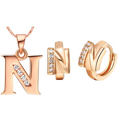 n letter in gold on quotesfab alphabet letter n gold silver plated necklaces amp earrings 889
