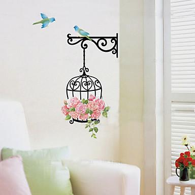 colorat diy birdcage&autocolant pentru pereți de flori 1pc