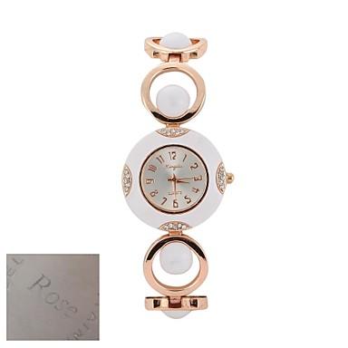 Silver personalizat cadou de moda pentru femei Dial aur-ton deschis Link brățară cuarț ceas analogic gravate