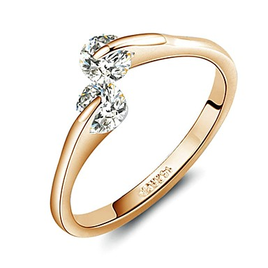 18K Rose Gold Plated Fashion Design Twins Zircon CZ Engagement