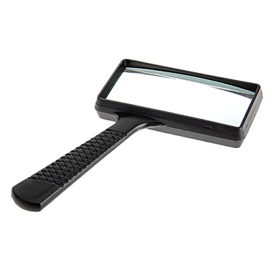 cheap Hand Tools-5X Rectangle Handheld Magnifying Glass Magnifier Microscope Plastic Black