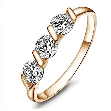 Pentru femei Inel de declarație Diamant sintetic Auriu Placat Auriu femei Modă de Mireasă Nuntă Petrecere Bijuterii Rundă Dublu Trecut prezent viitor / Cristal
