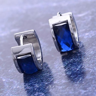 رخيصةأون حلقات هوجي-نسائي الماس الاصطناعي أقراط طارة حلقات هوجي سيدات الفولاذ المقاوم للصدأ الصلب التيتانيوم تقليد الماس الأقراط مجوهرات أزرق من أجل هدايا عيد الميلاد مناسب للبس اليومي