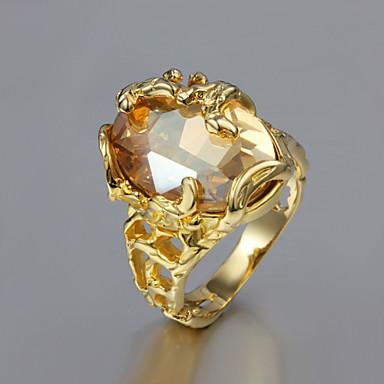 Pentru femei Inel de declarație Zirconiu Cubic citrin 1 buc Placat Auriu 18K Aur femei Neobijnuit Design Unic Nuntă Petrecere Bijuterii Solitaire Oval Inel de coctail