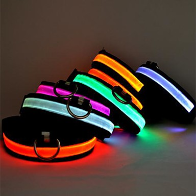 olcso Kutya Nyakörvek, hámok és pórázok-Cica Kutya Gallérok LED fények Állítható / Behúzható Egyszínű Műanyag Zöld Kék Rózsaszín