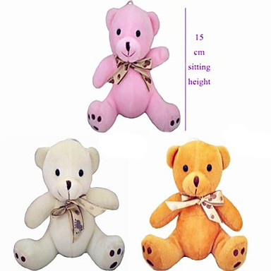 olcso Plüssjátékok-15cm ülésmagasság Pure Color Plüss Bow Tie medve Töltött PP Cotton (Vegyes Color)