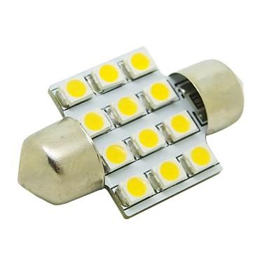 31mm 1W 12x3528 SMD 50lm 2800 ~ 3200K Cald Bec cu LED-uri cu lumina alba pentru mașini Festoon Dome Reading Lamp (12V DC)
