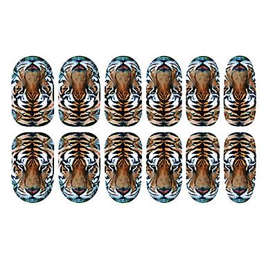 12 pcs Unghii False Integrale 3D Acțibilduri de Unghii nail art pedichiura si manichiura Zilnic Abstract / Modă / 3D pentru autocolante / ABS