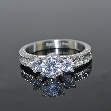 Pentru femei Inel Diamant sintetic moissanite Argintiu Teak Zirconiu Zirconiu Cubic Rotund femei Lux de Mireasă Nuntă Petrecere Bijuterii Solitaire grup HALO Coroane Iubire