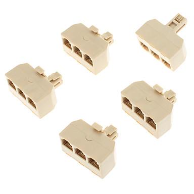 povoljno Ethernet kablovi-1-Muško-Ženski 3 telefonska mreža konektor Splitter Extender Plug Adapter (žuta, 5 komada)