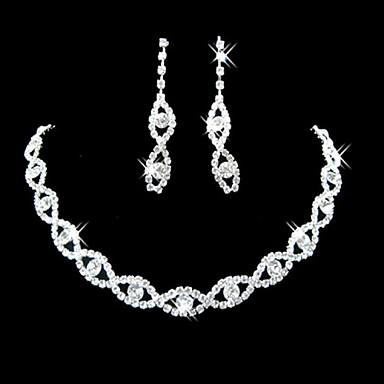 Pentru femei Diamant sintetic Cercei Picătură Seturi de bijuterii de mireasă femei Elegant de Mireasă De Fiecare Zi Ștras Argilă cercei Bijuterii Argintiu Pentru Nuntă Petrecere Logodnă Cadou