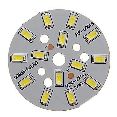 dm 1pc 7w 500-550lm 14 x 5730 smd led-uri patch led sursă de lumină bord rece lumină albă 6000-6500 k substrat de aluminiu (dc21-24v, 300ma)