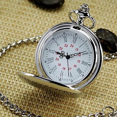 رخيصةأون ساعات الرجال-رجالي ساعة جيب ساعة قلادة كوارتز رقم روماني فضة مماثل عتيق - فضي سنة واحدة عمر البطارية / SODA AG4
