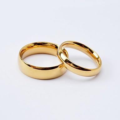 levne Široké prsteny-Dámské Snubní prsteny Band Ring Černá Zlatá Titanová ocel Pozlacené Kulatý dámy Jednoduchý minimalistický styl Svatební Výročí Šperky Klasika láska přátelství