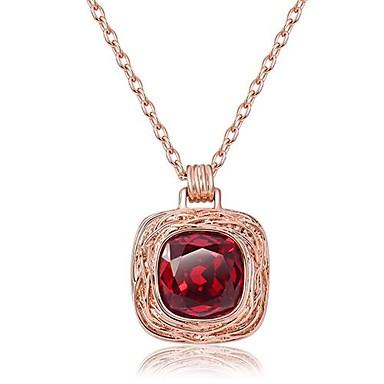 b90dacf65496e Viennois ® Fashion Square Rose banhado a ouro Swarovski Elements Colar  Pingente Cristal Vermelho 1 Pc de 1488325 2019 por €34.99