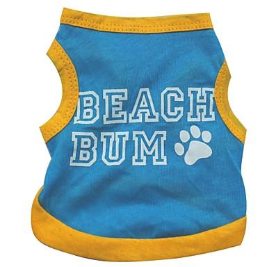Câine Tricou Îmbrăcăminte Câini Respirabil Albastru Costume Bumbac Literă & Număr Casul / Zilnic XS S M L