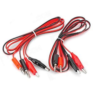 Banana Plug pentru Alligator Clip test Probe Cable - Rosu + Negru (2 buc / 1,2 m)