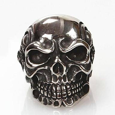 Bărbați Inel de declarație Argintiu Oțel titan Oțel Tungsten Modă Bijuterii inițială Cadouri de Crăciun Zilnic Bijuterii Craniu Halloween Calaveras