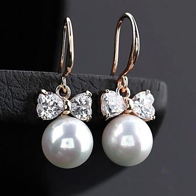 Pentru femei Alb Perle Cercei Picătură Cercei Rotunzi Zirconiu Cubic cercei Bijuterii Argintiu / Roz auriu / Maro deschis Pentru 1 buc