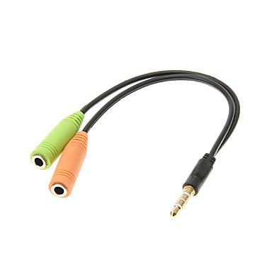 0,15 0.5FT auxiliar Aux audio 3.5mm cablu Stereo Jack Male la 2 Cord Femeie