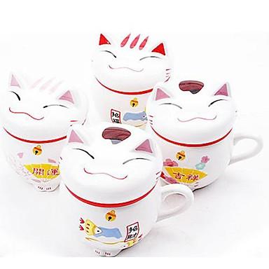 povoljno Pribor za kavu/čaj i čaše-sretna mačka keramike Šalica za kavu s poklopcem slučajnim boja, 9.5x8x11cm