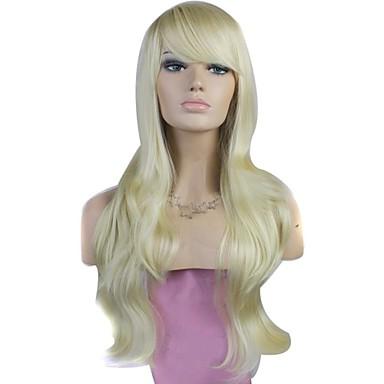 Peruci Sintetice Ondulat Ondulat Cu breton Perucă Blond înălbitor Blonde Păr Sintetic 28 inch Pentru femei Blond