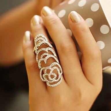 Pentru femei Inel de declarație Cristal Argintiu Auriu Cristal Ștras femei Neobijnuit Design Unic Nuntă Petrecere Bijuterii Trandafiri Floare