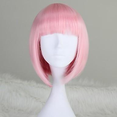 Peruci Sintetice Drept Kardashian Stil Tunsoare bob Perucă Pink Roz Deschis Păr Sintetic 12 inch Pentru femei Pink Perucă Scurt Mediu