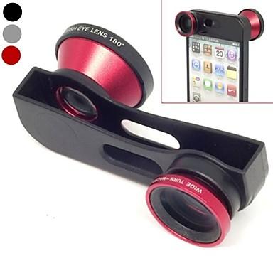 Schimbarea rapida 3 în 1 Wide Angle Lens, Lens Macro și 180 Fish Eye Lens Kit Set pentru iPhone 5/5 (asortate color)