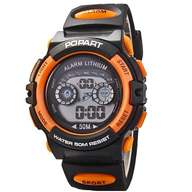 رخيصةأون ساعات الرجال-نسائي كوارتز جلد اصطناعي أسود 30 m ساعة رياضية رقمي برتقالي أصفر أحمر