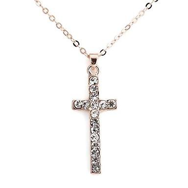 Cruce cu Full Diamond pandantiv colier de metal (1 buc)
