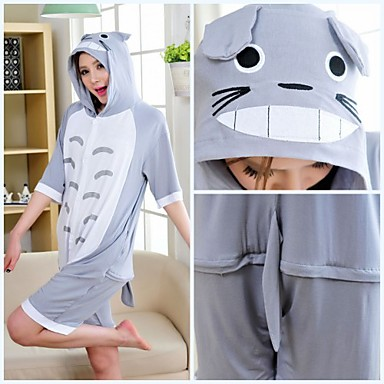 Cute Totoro Gray Cotton Adult Kigurumi Pajama For Summer Cartoon Sleepwear  Animal Halloween Costume 1171606 2019 –  35.99 54d773645