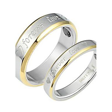 Pentru cupluri Inele Cuplu Auriu / Alb Oțel titan femei Nuntă / Petrecere / Zilnic Costum de bijuterii
